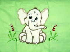 Kinderwagenkissenbezug 80 x 80 Elefant grün