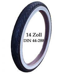 Reifen Mantel 14 Zoll DIN 44-288 mit breiten weißen Rand incl. passenden Schlauch