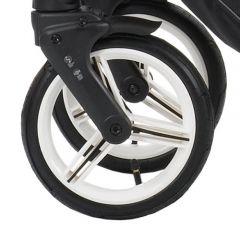 Bebetto Kinderwagen Rad Nico, Farbe weiss, Reifengröße DIN 48 x 188, luftbereift und kugelgelagert, ohne Gabel