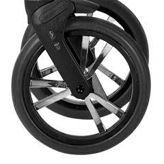 Bebetto Kinderwagen Rad 3V, Farbe: schwarz mit chromfarbigen Einsatz, Reifengröße DIN 48 x 188, luftbereift und kugelgelagert, ohne Gabel