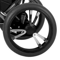 Bebetto Kinderwagen Rad 3V, Farbe schwarz mit chromfarbenen Einsatz, Reifengröße 12 Zoll DIN 60 x 230, luftbereift und kugelgelagert