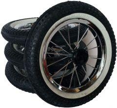 4 Stück 12,5 Zoll Kinderwagenrad kugelgelagert m. Metallspeichen und Reifen mit weißen Rand