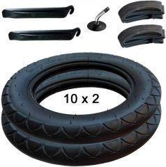 Joie Litetrax, Mytrax 2x Reifen und Schlauch mit Winkelventil 10x2 inkl. Montagehebel