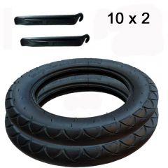2x Reifen 10x2 passend zu Joie Litetrax, Mytrax incl. Montagehebel