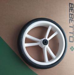 Bebetto Kinderwagen Rad 3V, Farbe: weiss mit weissen Einsatz, Reifengröße DIN 48 x 188, schlauchlos, pannenfrei und kugelgelagert, ohne Gabel
